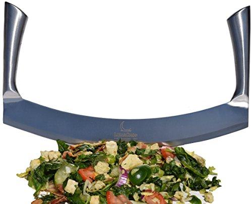 Mezzaluna Knife Pizza Cutter Vegetable Chopper for Chopped Salad Industrial Pizza Rocker Knife 14 Inch Blade
