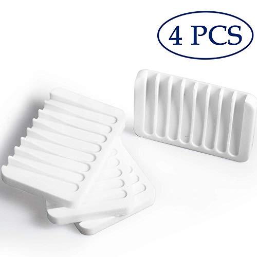 Blasoul Silicone Soap Dish Soap Holder 4PCS White Soap Dish Holder Bathtub Tray Stand Saver Tray Case Rubber Drainer Dishes for Bar Soap Sponge Scrubber Shower Bathroom Kitchen Sink Anti-Slip Design