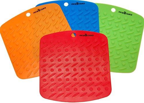 Ninja Cooks Premium Silicone Trivet Pot Holder Non-slip Hot Pad Spoon Rest Set of 4 Red Blue Orange Green