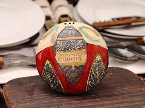 Handmade Pottery Salt Shaker Salt or Pepper Box Cute Pottery Souvenir Kitchen Accessories Colorful Ceramic Salt Shaker Danko Pottery