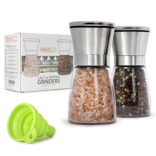 Premium Stainless Steel Salt and Pepper Grinder Set of 2 - Adjustable Ceramic Sea Salt Grinder Pepper Grinder - Short Glass Salt and Pepper Shakers - Pepper Mill Salt Mill with Free Funnel EBook