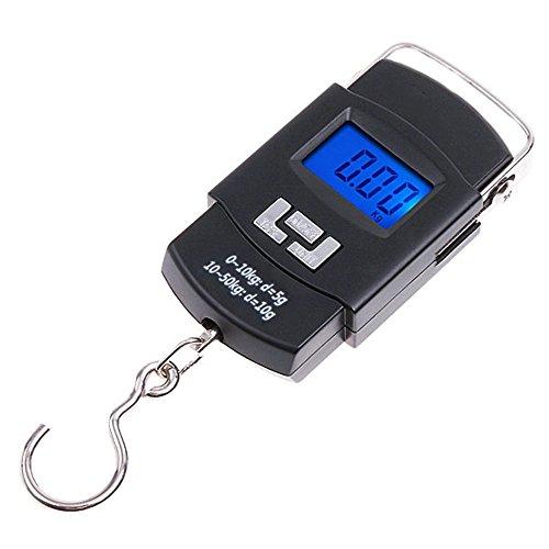 110lb50kg Electronic Balance Digital Fishing Postal Hanging Hook Scale with Measuring Tape