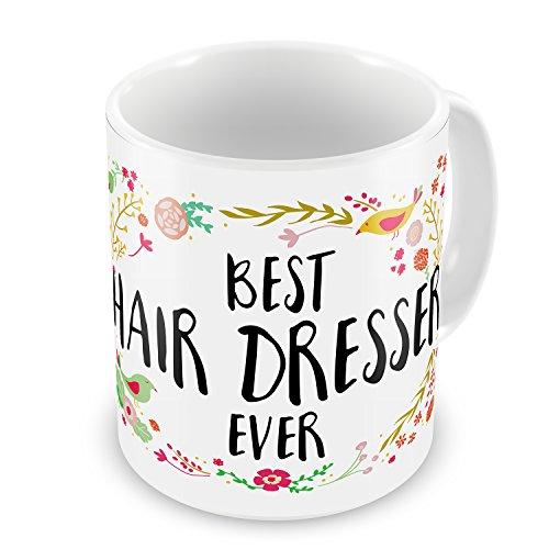 Coffee Mug Happy Floral Border Hair Dresser - NEONBLOND