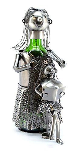 Happy lady Hair Dresser Metal Wine Bottle Holder