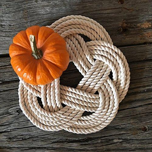 Nautical Sailor Knot Cotton Rope Trivet Natural White Sailor Rope