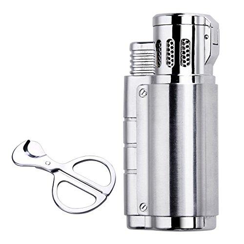 Silver Triple Jet Flame Butane Torch Cigarette Cigar Lighter w Punch Cutter Scissors Gift Box