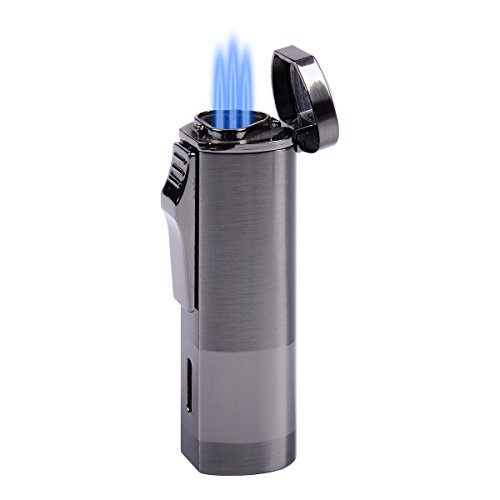 Triple Butane Gas Jet Flame Torch Cigarette Cigar Lighter With Gift Box Black