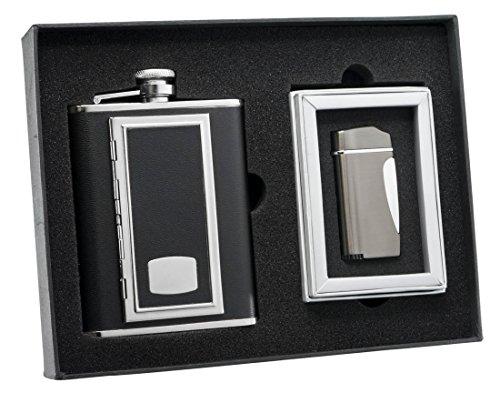 Visol SP Black Cigarette Case Flask and Nolet Gunmetal Torch Flame Lighter Set