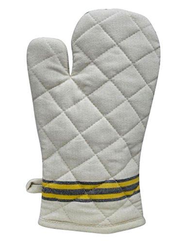 Maxican 100 Cotton single oven Mitt - 8 x 12 Heat Resistant Machine Washable Superior Protection Comfort – Elegant Design for Everyday Kitchen Basic - Beige