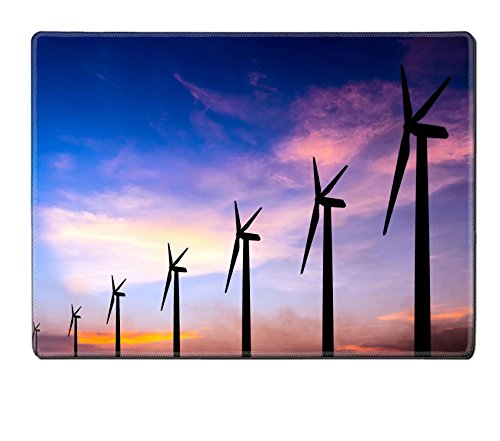 Liili Placemat Natural Rubber Material wind turbine silhouette on colorful sunset abstract for green earth concept 28352497