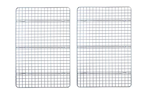 Checkered Chef Cooling Racks For Baking - 10 x 15 Inches - Stainless Steel Cooling RackBaking Rack Set of 2 - Oven Safe Wire Racks Fit Jelly Roll Pan - Small Grid Perfect To Cool and Bake