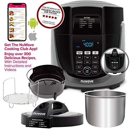 NUWAVE DUET Pressure Air Fryer All-in-1 Multi-Cooker with Combo Cook Technology Removable Pressure Air Fry Lids for Convenient Storage 6-Qt Heavy-Duty Stainless Steel Pot Stainless Steel Reversible Rack 4-Qt Non-Stick Air