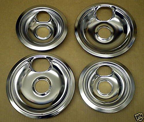 Cooking Appliances Parts CP1 Range Stove Chrome Drip Pans Burner Bowls Set 2 6 2 8