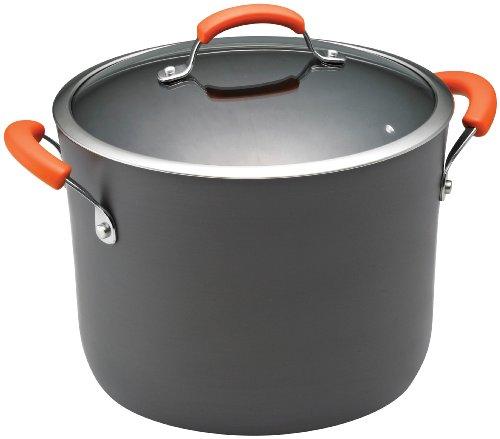 Rachael Ray Hard Anodized Ii Nonstick Dishwasher Safe 10-quart Covered Stockpot, Orange