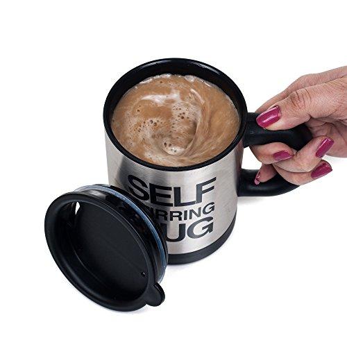 Chef Buddy 82-MU201 Self Stirring Coffee Hot Chocolate Mug Silver
