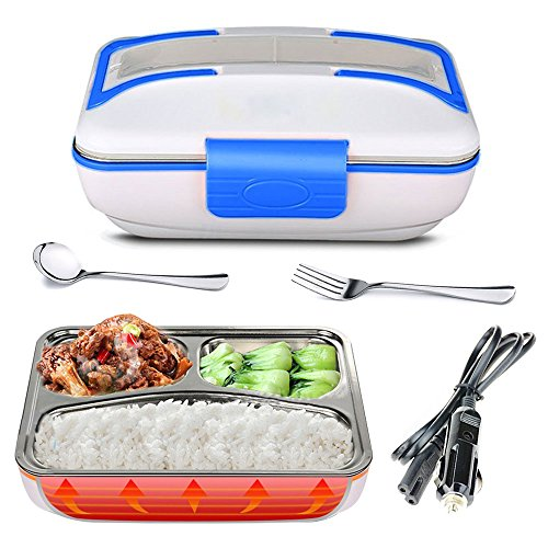 YOUDirect Electric Heating Lunch Box - Portable Bento Meal Heater Car Food Warmer Stainless Steel Plug Heating Food Container Leak-Resistant Reusable Electronic Food Boxes for Car Use Blue