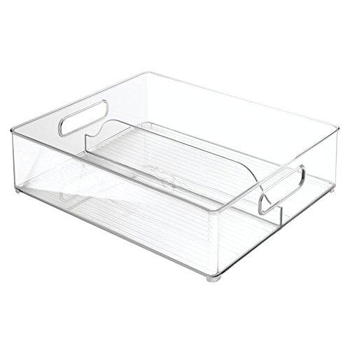 InterDesign Refrigerator and Freezer Divided Storage Container - Organizer Bin for Kitchen Clear