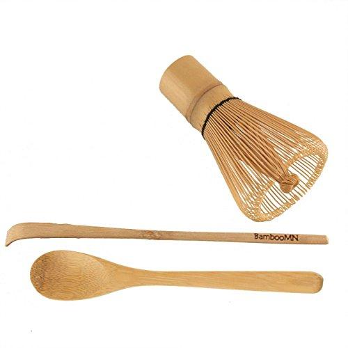BambooMN Matcha Whisk Set - Golden Chasen Tea Whisk  Chashaku Hooked Bamboo Scoop  Tea Spoon - 1 Set