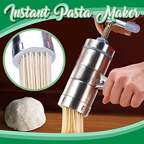 Noodle Press Machine Noodle Maker Stainless Steel Manual Pasta Makers Noodle Mould Small Portable Pasta Maker Machine Fruit Press Spaghetti Kitchen Machine for Tagliattelle Linguine Lasagna Noodles