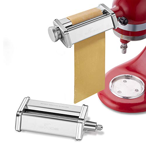 Pasta Roller Spaghetti Cutter Attachment for KitchenAid Stand MixersStainless Steel Pasta Sheet Noodle Maker Accessories 2Pcs
