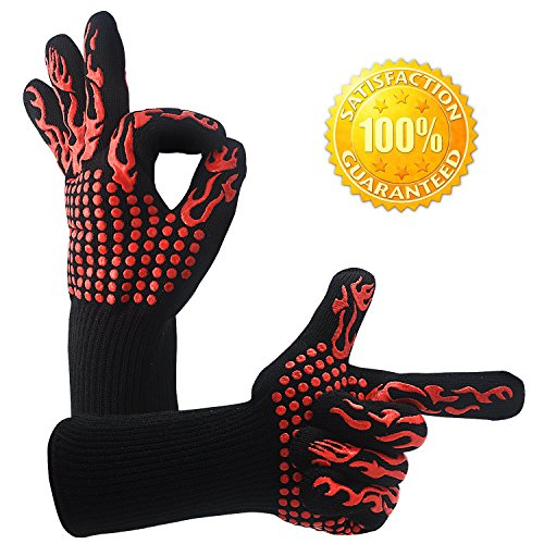 BBQ Cooking Tool Set Heat Resistant nonslip Gloves- DWG Silicone Oven Mitts Handguard Grill Gloves for Cooking GrillingFireplace and Oven Including Sharp Shredder Claws and Silicone Basting Brush