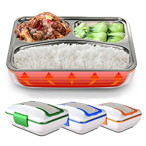 LUCKSTAR Electric Heating Lunch Box - Portable Removable 3-Compartment Stainless Steel Container Car Use Bento Meal Warming Container Blue