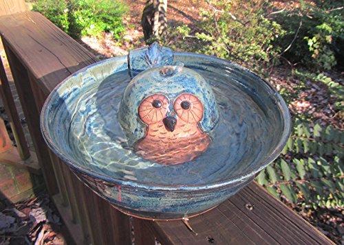 Ceramic Cat Drinking Fountain Indoor Pet Water Feature Handmade Wheel Thrown Pottery Owl Design