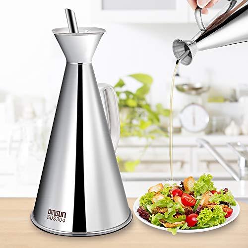 Gmisun Stainless Steel Olive Oil Dispenser 17oz Olive Oil Can Drip Free Oil Vinegar Leak Proof Cruet for Kitchen 500ml