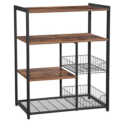 VASAGLE ALINRU Kitchen Bakers Rack Industrial Kitchen Shelf with 2 Mesh Baskets and 6 Hooks Microwave Oven Stand Rustic Brown UKKS96X