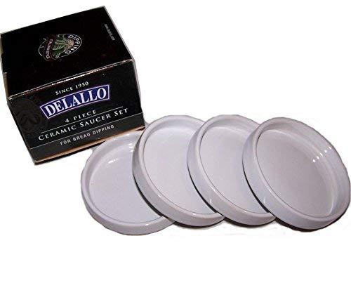 Detallo B004UCC0IE Delallo-4 Piece Ceramic Saucer Set for Bread Dipping 1 White
