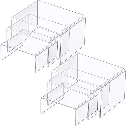 Chuangdi 2 Sets Clear Acrylic Display Risers Jewelry Display Riser Shelf Showcase Fixtures Medium Set Clear