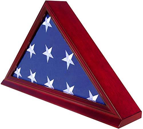 DisplayGifts FC06-CH Solid Wood Elegant 5 x 95 Flag Display Case for BurialFuneralVeteran Flag Cherry