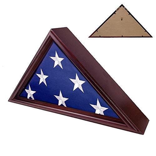 Indeep Flag Display Case 5 x 95 Burial Funeral Veteran Flag Holder Box Frame Solid Wood