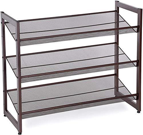 SONGMICS 3-Tier Stackable Metal Rack Flat Slant Adjustable Shoe Organizer Shelf for Closet Bedroom Entryway 291 x 122 x 247 Inches Bronze ULMR03A