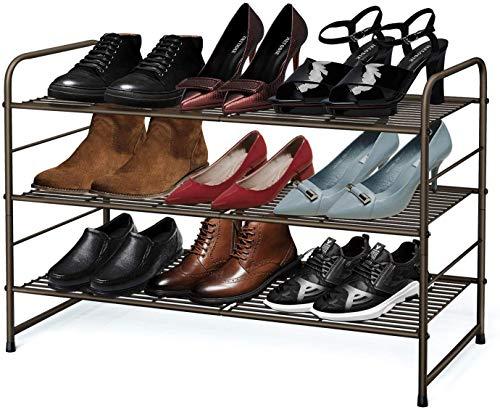 Simple Trending 3-Tier Stackable Shoe Rack Expandable Adjustable Shoe Shelf Storage Organizer Wire Grid Bronze