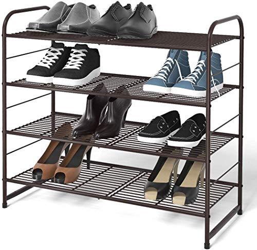 Simple Trending 4-Tier Stackable Shoe Rack Expandable Adjustable Shoe Organizer Storage Shelf Wire Grid Bronze