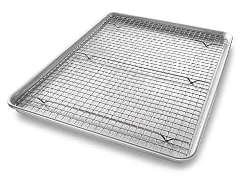 USA Pan 1607CR Bakeware Extra Large Sheet Baking Pan and Bakeable Nonstick Cooling Rack Set XL Metal