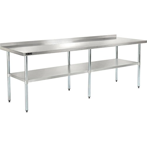 Nexel WB9630BSS Stainless Steel Worktable with Backsplash 96W x 30D x 35H