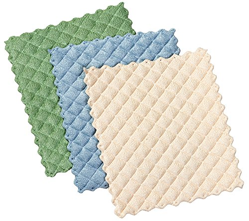 Envision Home 3-Pack Microfiber Quilted Kitchen Dish Cloths 6-12 by 7-12-Inch