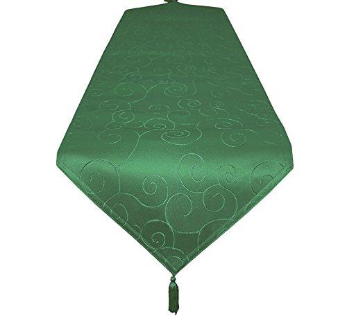 EcoSol Designs Microfiber Damask Swirls Table Runner 16x70 Green Swirls