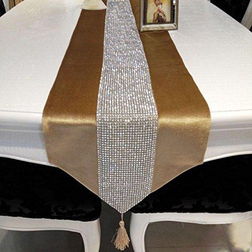 Hangnuo Wedding Elegant Tassel Sequined Rhinestone Contracted Classic Table Runner 1383inch Golden