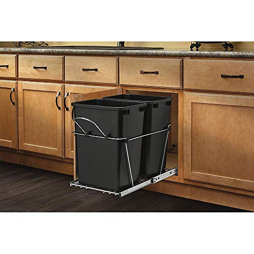 Rev-A-Shelf RV-18KD-18C S Double 35 Quart Sliding Pull Out Kitchen Cabinet Waste Bin Container Black