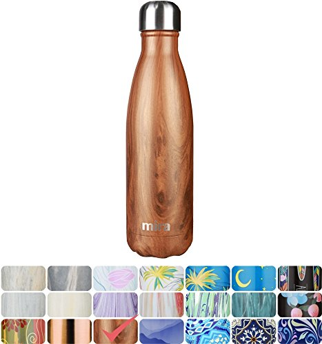 MIRA Vacuum Insulated Travel Water Bottle  Leak-proof Double Walled Stainless Steel Cola Shape Portable Water Bottle  No Sweating Keeps Your Drink Hot Cold  17 Oz 500 ml  Wood