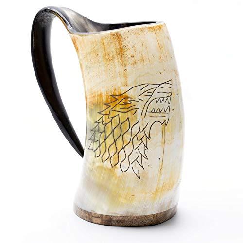 Norse Tradesman Genuine Viking Drinking Horn Mug - 100 Natural Beer Horn Tankard wGame of Thrones Direwolf Engraving The Fenrir Unpolished X-Large