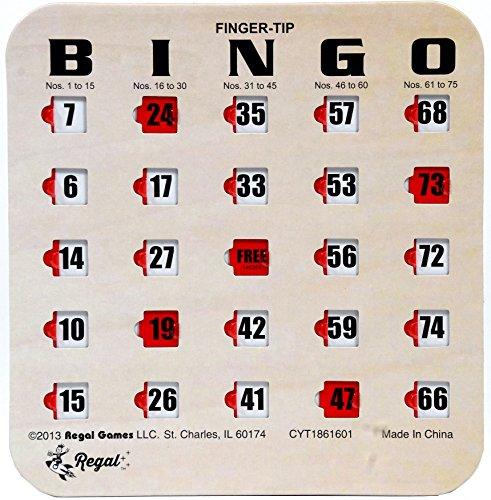 Regal Games 25 WoodgrainTan Fingertip Shutter Slide Bingo Cards