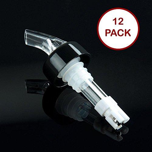 Barwareaffair Measured Alcohol and Liquor Pourer with Black Collar Automatic Liquor Pour Spout Auto-Measure Bottle Pourer 12 White 2 Oz