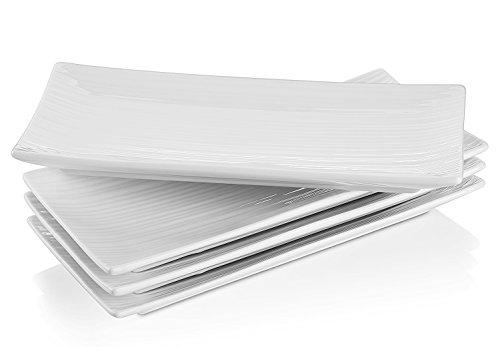 Lifver 10-inch Porcelain Serving PlatterRectangular Plates White Set of 4