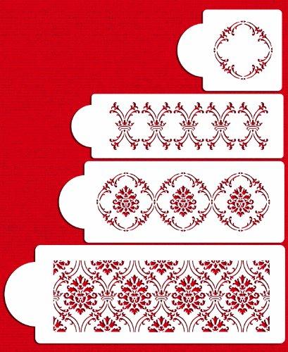 Designer Stencils C702 Royal Damask Cake Stencil Set Beigesemi-transparent