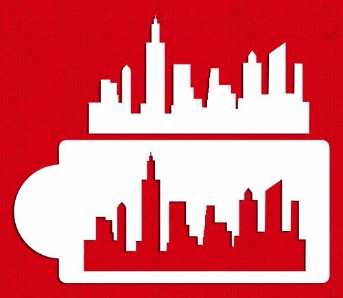 Designer Stencils C757 New York Skyline Cake Stencil and Template BeigeSemi-Transparent