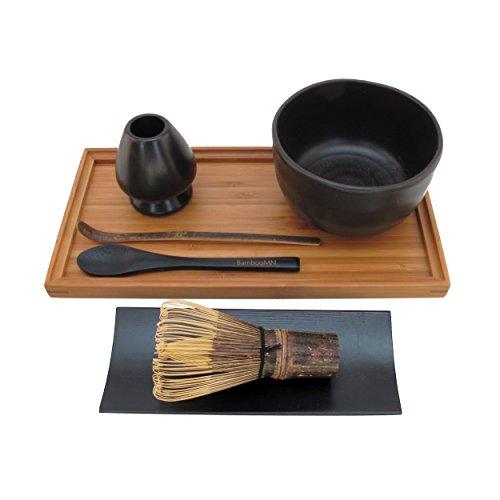 BambooMN Brand - Matcha Bowl Set Includes Bowl Rest Black Tea Whisk Black Chasaku Black Tea Spoon Rest Tray Tray - Black